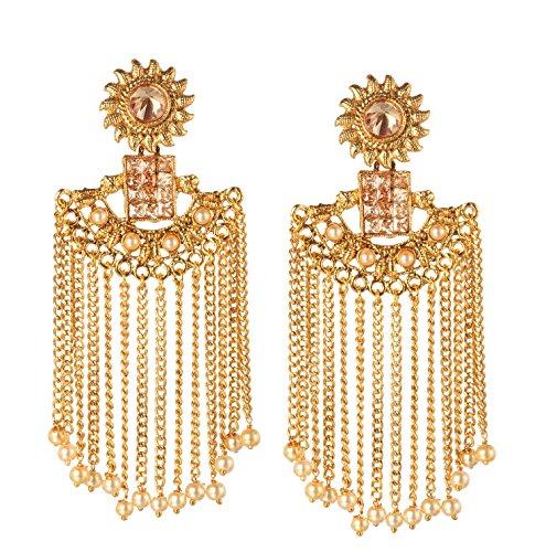Bindhani Indian Bollywood Wedding Long Chain Bahubali Jewelry Faux Pearl Dangling Earrings For Women ()