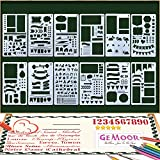 GeMoor 12 Pcs Bullet Journal Stencil Set Drawing Template Stencil Planner Stencil for Journaling DIY Scrapbook Projects 4 x 7 Inch