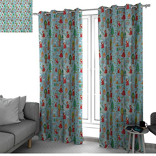 Fantasy Microfiber Window Panel Pair Red Riding Hood Tale Themed Illustration with House and Big Bad Wold in The Forest Curtains for Living Room Multicolor W108 x L108 Inch