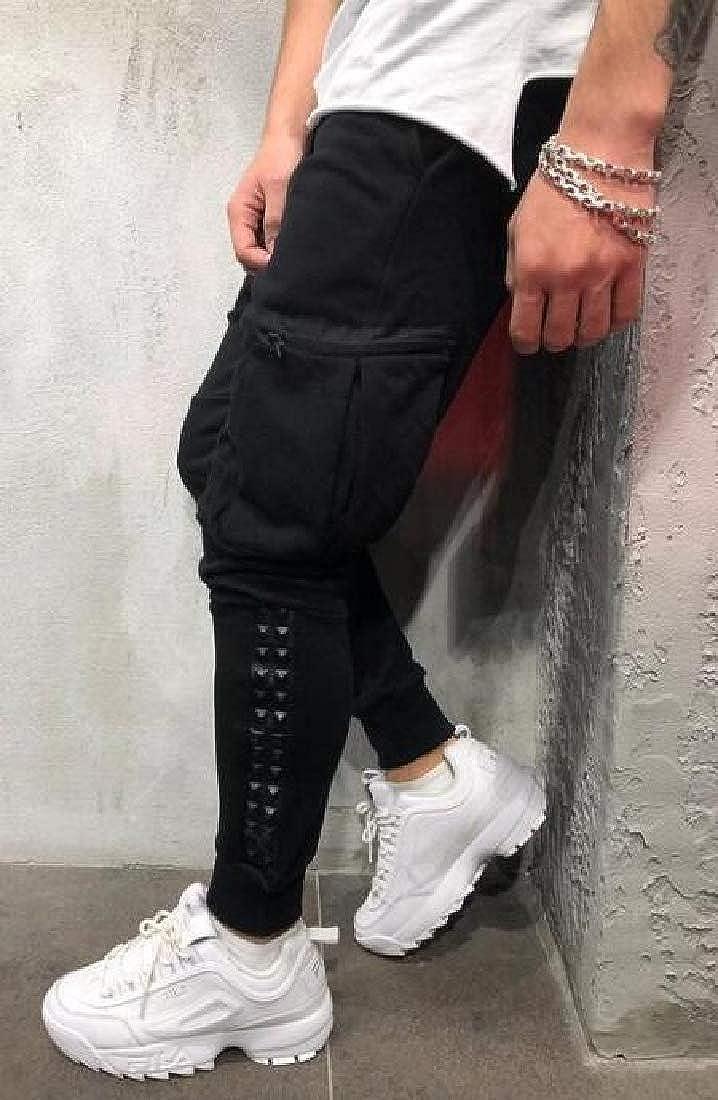 YYG Mens Casual Hip Hop Multi Pockets Drawstring Sweatpants Jogger Pants Trousers