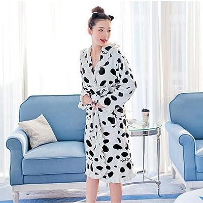 55dd537e83f Automne Hiver Saison Lady Sommeil Robe Mignon Vache Accueil Vêtements  Peignoir Pur Coton Barhrobe GAODUZI