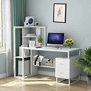 Zlolia Computer Desk with Shelves,47 inch Writing Desk with Storage Shelves Study Writing Table for Home Office,Modern Simple Style