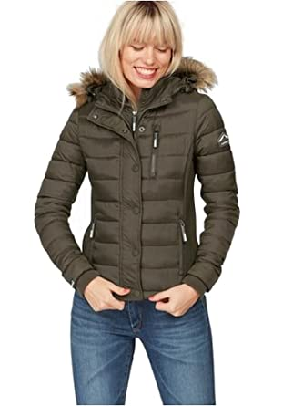 the best attitude e7477 9a4dd Superdry Damen Jacke Steppjacke Fuji Slim (Oliv, M): Amazon ...