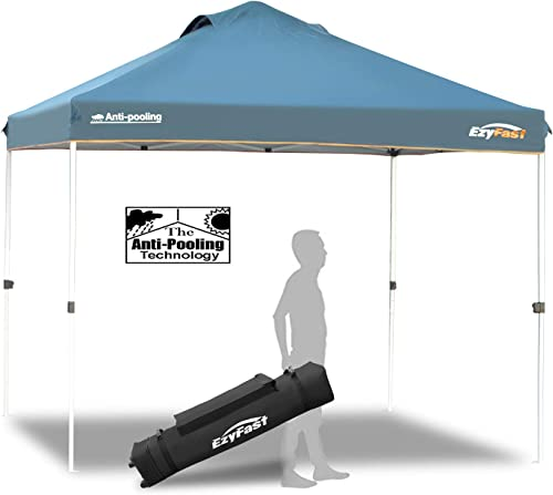 EzyFast Patented Anti-Pooling Instant Beach Canopy Shelter for Rain or Sunshine, Portable 10ft x 10ft Straight Leg Pop Up Shade Tent with Wheeled Carry Bag 10 x 10