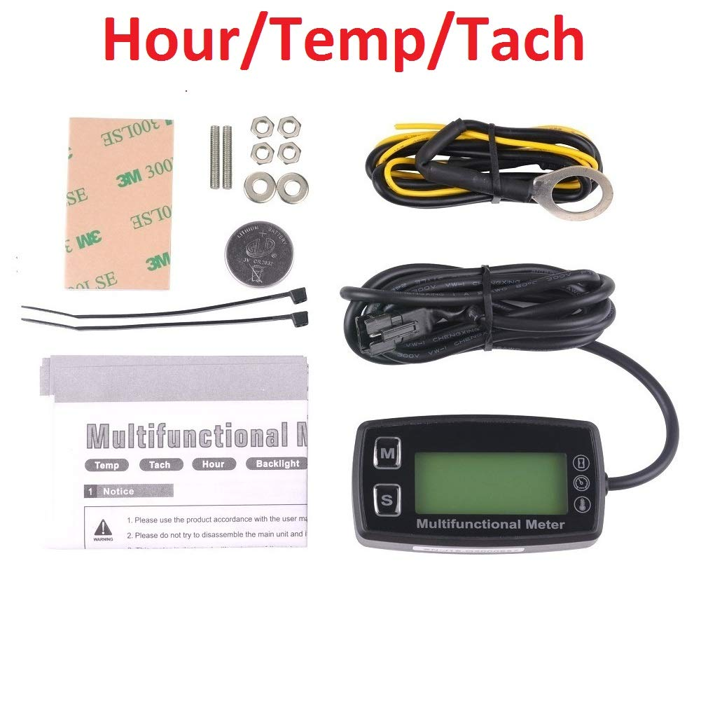 Searon Digital Backlit Engine Tachometer Hour Meter Tach with Sparking Plug Temp Temperature Sensor for Gasoline Engine