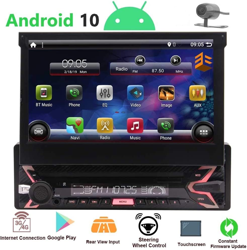 1 Din Radio Android 10 Single Din Car Stereo Bluetooth 7 inch Flip Out Touch Screen 1080P Detachable DVD Player GPS Navigation Headunit Indash with Steering Wheel Control&Mirrolink Free Backup Camera
