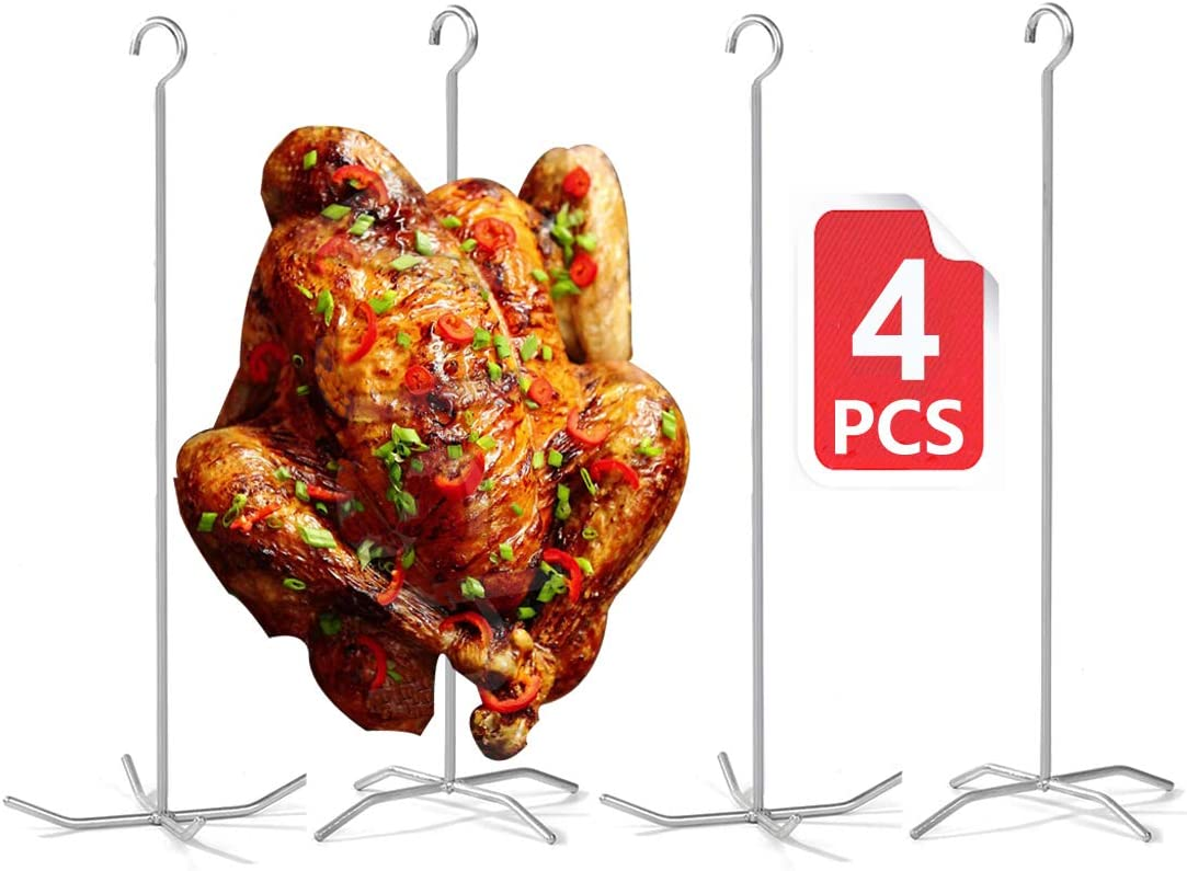 Reyhoar Super Skewers, PBC Poultry Hanger, Thanksgiving Turkey Holder, Pit Barrel Bronco Cooker Rack Stander Bracket for Smoke Whole Chicken/Duck/Turkey, 4-Set with 4 skewers 4 Bases, Silver