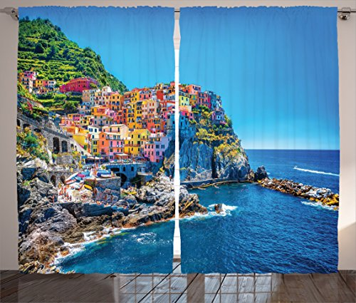 Mediterranean Sea Pictures (Ambesonne Wanderlust Decor Collection, Mountains over Mediterranean Sea Europe Traditional Italian architecture Cliff Coastline View, Living Room Bedroom Curtain 2 Panels Set, 108X90 Inches, Pink Blue)