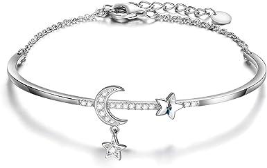 Sterling Silver Crescent Moon Bracelet