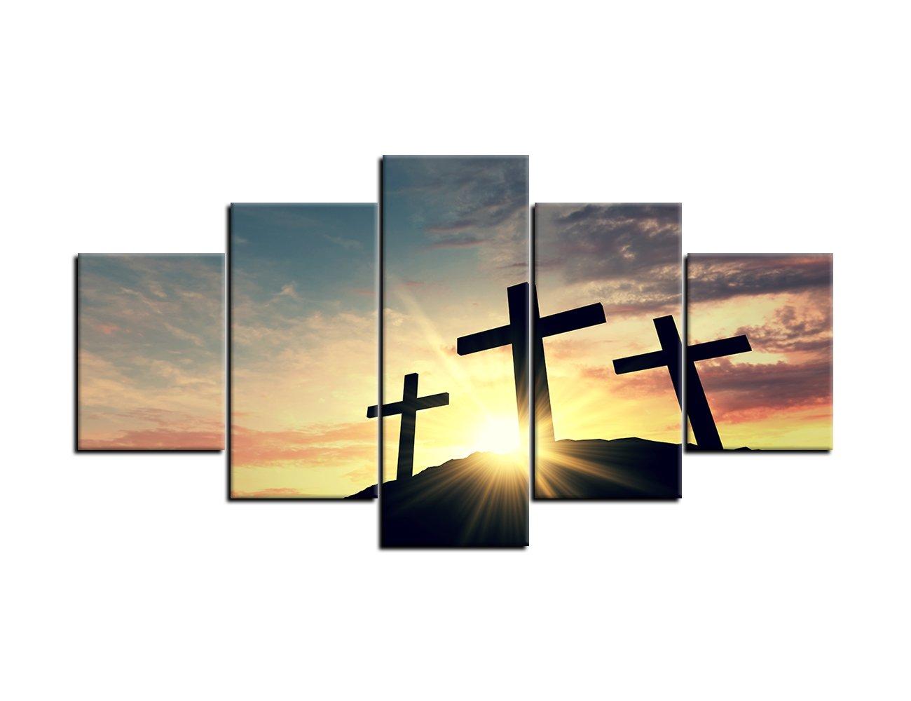 Amazon.com: Christian Cross Wall Art Canvas Painting Print Poster 5 ...