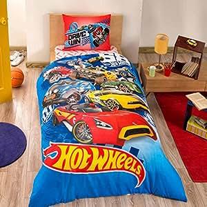 disney hot wheels boy 39 s duvet quilt cover set single twin size hot wheels kids. Black Bedroom Furniture Sets. Home Design Ideas