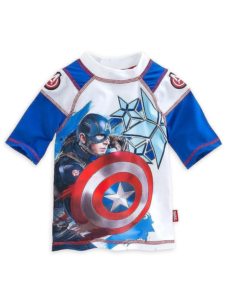 Disney Store Boys Captain America Civil War Waves of Support Rash Guard Blue