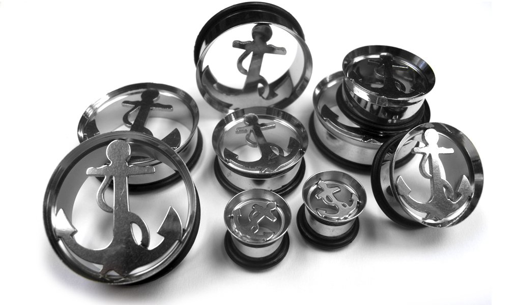 (00 Gauge ~ 10mm) 1 Pair of Stainless Steel Anchor Tunnel Plugs (STL005)