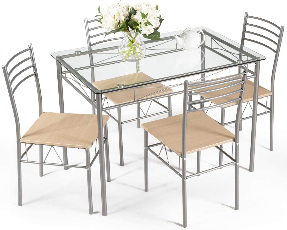 Giantex 5 Piece Dining Set Table and 4 Chairs Glass Top Kitchen Breakfast Furniture