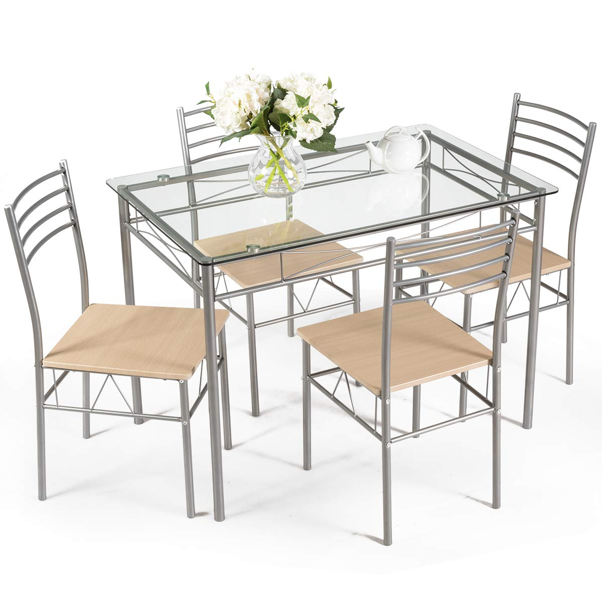 Giantex 5 Piece Dining Set Table and 4 Chairs Glass Top Kitchen Breakfast Furniture by Giantex
