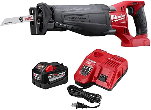 Milwaukee M18 FUEL 18-Volt Lithium-Ion Cordless SAWZALL Reciprocating Saw with M18 9.0Ah Starter Kit Hardware Power Tools for Your Carpentry Workshop or Machine Shop