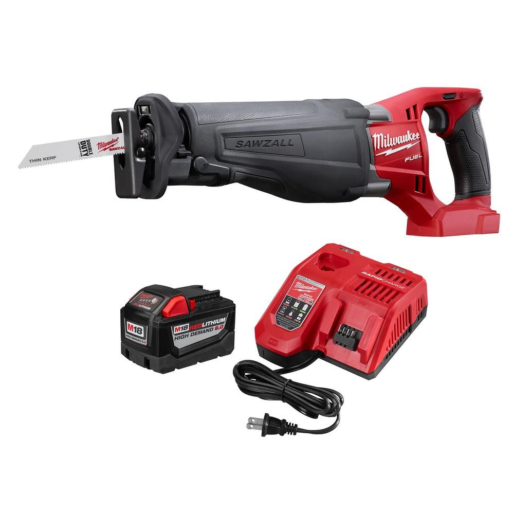 Milwaukee M18 FUEL 18-Volt Lithium-Ion Cordless SAWZALL Reciprocating Saw with M18 9.0Ah Starter Kit | Hardware Power Tools for Your Carpentry Workshop or Machine Shop