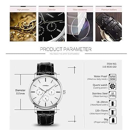 Amazon.com: SINOBI Leather Strap Men Watch, Sub-Dials Multifunction Stopwatch Men Chronograph Black reloj de pulsera: Watches