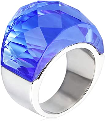 Epinki Stainless Steel Women Wedding Bands Gold Cubic Zirconia Glass Ring