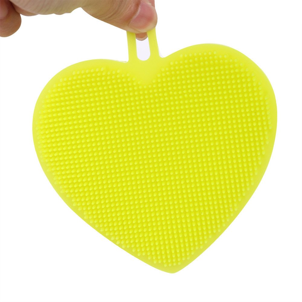 Tuscom 1Pc Multifunctional Heart-Shaped Silicone Cleaning Brush,for Vegetable Brush Kitchen Supplies Gadgets (3 colors) (Green)