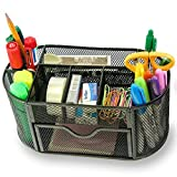 Organizer, Tuliptown Mesh Wire 9 Space Saving Writing Supplies Compartments Storage Rack With a Large Drawer for Gifts Kids Students Office Stationary