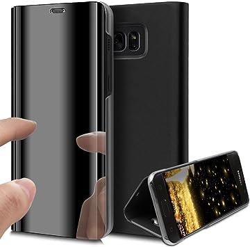 HMTECH Galaxy S7 Edge Funda Espejo Mirror Cuero de PU Bookstyle ...