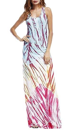 e498ab6b36 Women's Casual Tie Dyed Comfy Beach Slim Tank Spaghetti Strap Maxi Dress at Amazon  Women's Clothing store: