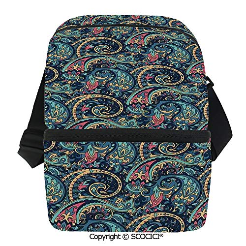 SCOCICI Collapsible Cooler Bag Unusual Boteh Revival Themed Tribal Pattern in Tones Image Insulated Soft Lunch Leakproof Cooler Bag for -