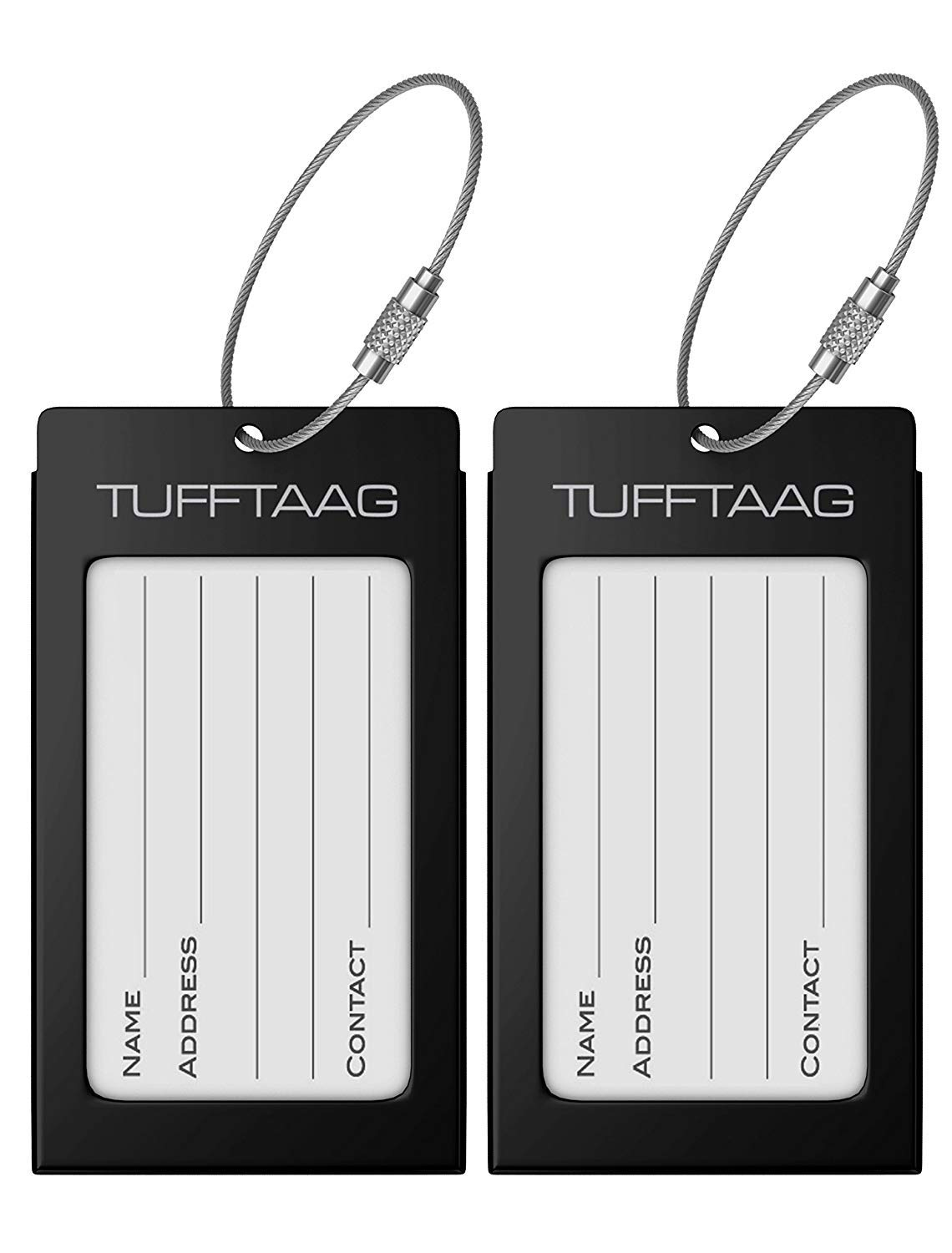 Luggage Tags Business Card Holder TUFFTAAG PAIR Travel ID Bag Tag - Black by ProudGuy