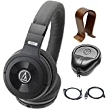 Audio-Technica Solid Bass Wireless Over-Ear Headphones w/ Built-in Mic & Control (ATH-WS99BT) with Universal Wood Headphone Stand & Slappa HardBody PRO Full Sized Headphone Case Black