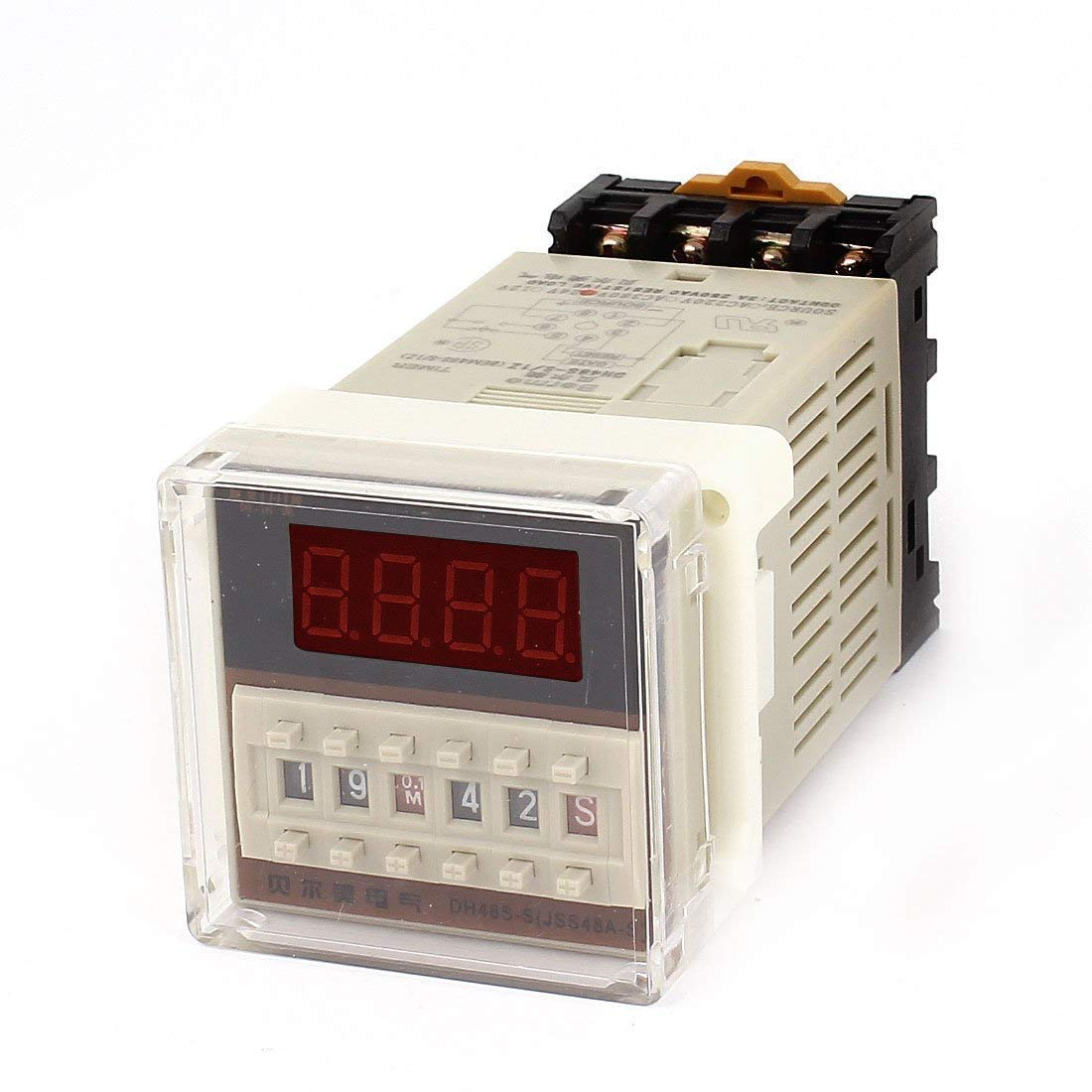 YXQ DH48S-S 0.1S-99H 8-Pin Adjustable Time Delay Timer Relay+PF083A Relay Base, 24VDC 250VAC