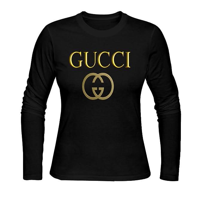 32cd50645b83 Women's Long Sleeve Tees GUCCI logo L Black: Amazon.ca: Clothing ...