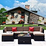 Cloud Mountain 7 PC Patio PE Rattan Wicker Furniture Set Outdoor Backyard Sectional Conversation Furniture Set Outdoor Patio Garden Sofa Set, Black Rattan with Khaki Cushions