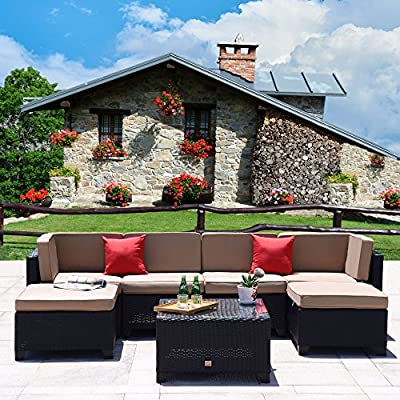 Cloud Mountain 7 PC Patio Rattan Wicker Furniture Set Summer Outdoor Backyard Sectional Conversation Furniture Set Outdoor Patio Garden Sofa Set, Black Rattan with Khaki Cushions - ✔️INCLUDING: 1 glass table, 2 ottomans, 2 pillows, 4 sectional sofa, 6 seat cushions, 6 back cushions. Ship from US in 3 BOXES ✔️EASILY USE: Easy assembly required and all hardware included. Removable cushions with zipper for easy cleaning. Cushions are not weather-resistant, please put them away when it is rainy. ✔️PREMIUM MATERIAL: Built from rust-resistant strong steel frame with durable and weather-resistant 9mm thicker PE rattan wicker for years of use. 200g Moymacrae cover and 24D Sponge interior make you feel more comfortable - patio-furniture, patio, conversation-sets - 6139E16oaWL. SS400  -