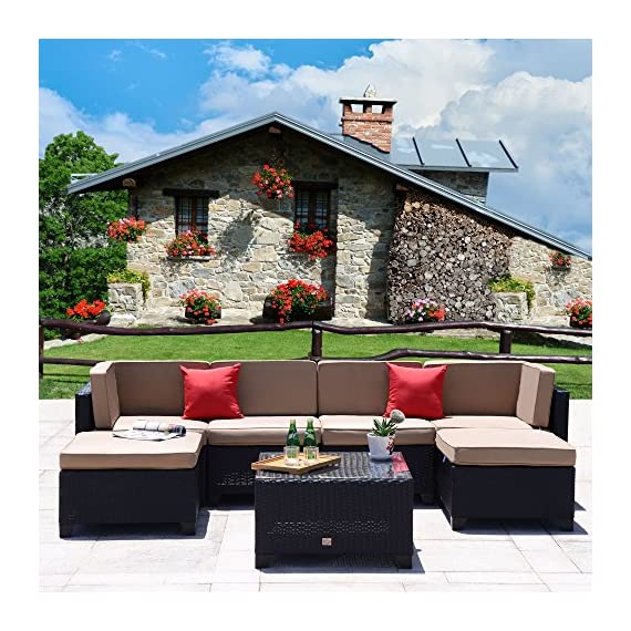 Cloud Mountain 7 Piece Patio Furniture Set Outdoor All-Weather Wicker Sectional Set Garden Rattan Conversation Set Cushioned Sofa and Coffee Table, Black Rattan with Khaki Cushions - ⭐ERGONOMIC & EXQUISITE DESIGN: Our patio conversation set is carefully designed complex weave patterns for added strength and durability. The seat height, armrest height and table top height are all elaboratively designed by our professional furniture designer to provide the most comfortable usage experience ⭐PREMIUM & HANDCRAFTED MATERIAL: Our 7 piece patio furniture set is crafted with rust-resistant strong steel frame and durable weather-resistant synthetic wicker for years of use. Polyester fabric and sponge padded cushions with zipper make you more comfortable. Tempered glass top coffee table makes store drinks, wine, snacks easily and durably. Anchor your outdoor entertainment ensemble with this 7 piece sofa set so you can fit up at your next backyard clambake ⭐AMAZING WICKER LIFE: It's time to replace them with our stylish and affordable wicker sets of high-quality structure. Crafted with aging-treated wicker material to mimic the natural wicker material, just like the light wash jeans. This manually treated wicker is actually more expensive than the bright and smooth one. This outdoor sofa set adds handsome decor to your patio, garden, backyard, porch, balcony, pool, etc. - patio-furniture, patio, conversation-sets - 6139E16oaWL. SS570  -