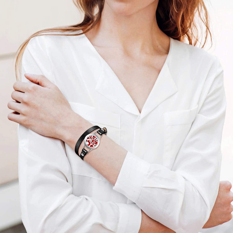 2 Sangles Alternatifs en Cuir PU 1 M/édaillon dAromath/érapie Bracelets de Diffuseur dhuile pour Femmes Cadeau de Bijoux pour M/ère Amie S/œur Enseignant 10 Tampons de Recharge Bo/îte-Cadeau