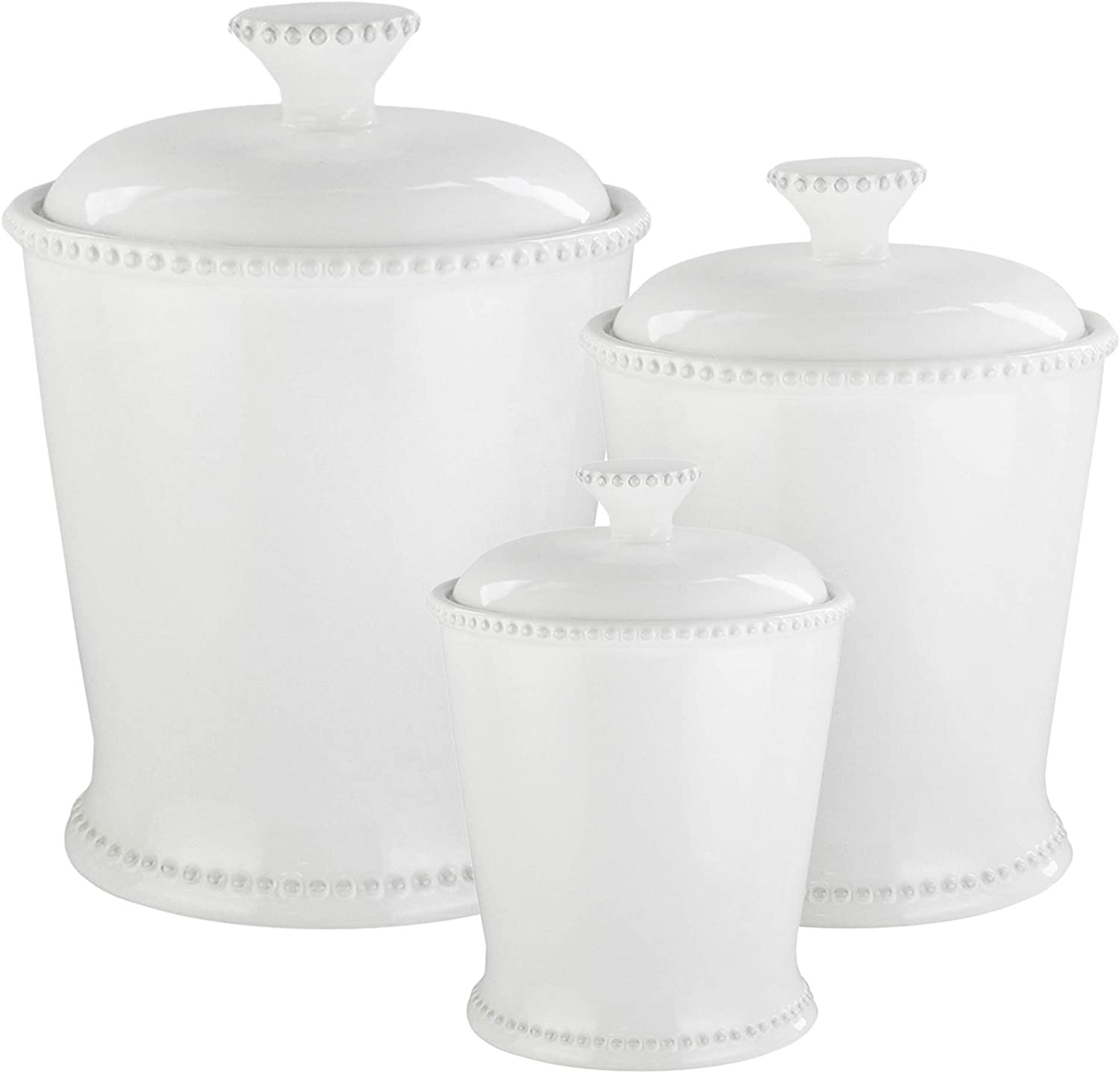 American Atelier Bianca Scallop 3 Piece Ceramic Round Canister Set, White