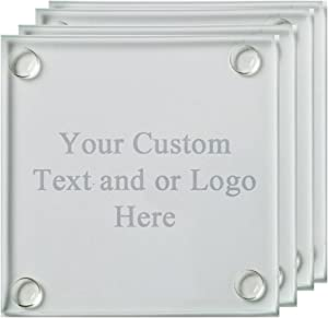 ANY TEXT, Custom Customized Engraved Glass Coaster, Set of 4 - Custom Picture Personalized Laser Engraved Text Customizable Gift For Him, For Her, For Boys, For Girls, For Husband, For Wife, For Them,