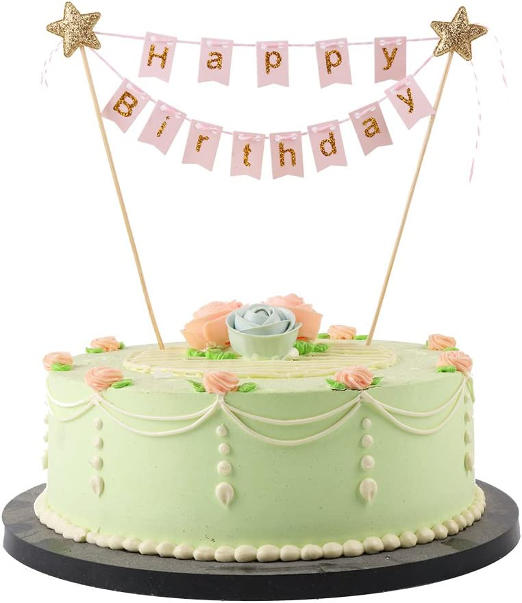 LXZS-BH 14 LVEUD Mini Happy Birthday Topper Banner-Party Cake Decoration Supplies (Pink), 1