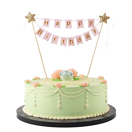 Amazon LXZS BH 14 LVEUD Mini Happy Birthday Topper Banner Party Cake Decoration Supplies Pink 1 Kitchen Dining