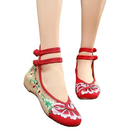 BOZEVON Zapatos Planos - Zapatos de Flores Viejos Pekín Zapatos de Tela Bordados con Doble Hebilla: Amazon.es: Zapatos y complementos