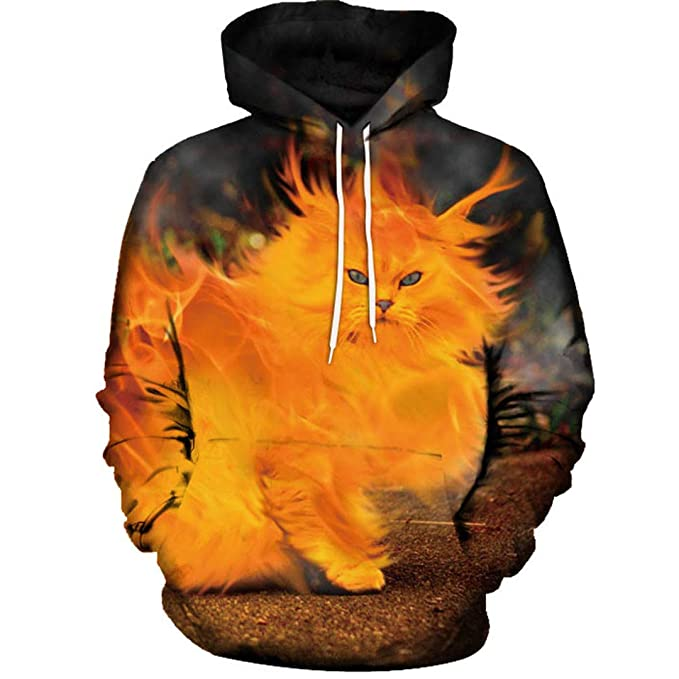 Amazon.com: Unisex Hoodies 3D Cat Print Sweatshirt Couples Coat Casual Sportswear: Clothing