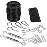 YQL Outdoor Lights Hanging Kit,Globe String Lights Suspension Kit,82ft Black Vinyl-Coated 304 Stainless Steel Cable,String Light Guide Wire,Turnbuckle Wire Rope Tension with Hooks