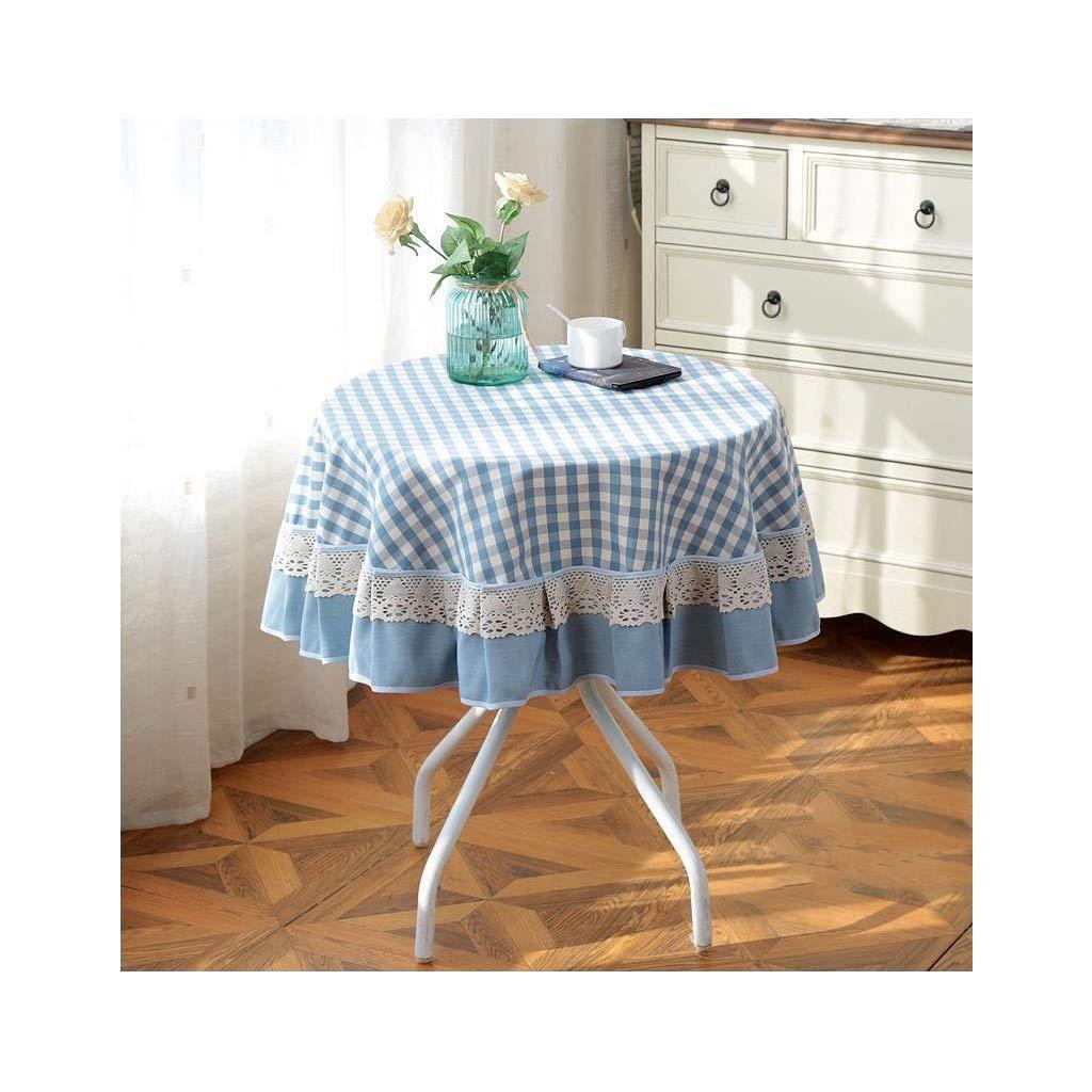 FANXM Blauer Plaidtischtuch, Haushaltsrunde Spitzetuchtischdecke 110-180CM (Farbe   B, größe   130cm) B07JC3CXX5 Tischdecken Ausgewählte Materialien  | Zuverlässige Qualität