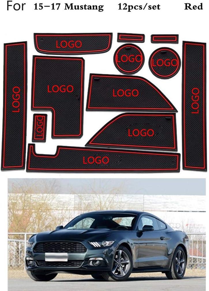Nowear 12st Ersatz f/ür Ford 2015-2017 Mustang Car Stying Tor Slot Mat Anti-Rutsch-Innent/ür-Pad