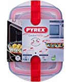 Pyrex Cook and Heat Oven Dish Set (4 Piece Set), Airtight, BPA Free lid with Sliding valves and Locking Clip, 2.5L and 0.8L
