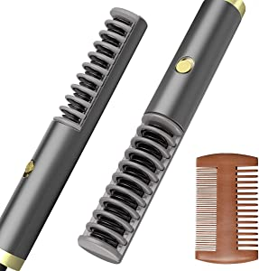 Kaome Beard Straightener, Anti-Scald Ionic Beard Straightening Comb with Fast Heating, Electric Constant Temperature Hair Straightener Brush Portable for Home and Travel with Wooden Comb