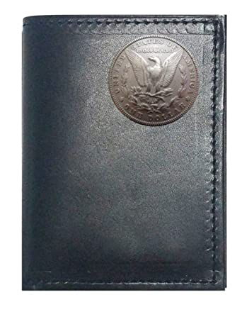 Custom Skull and Crossbones Concho on a Black Harness Leather Trifold Wallet Proudly made in the USA.