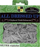 DCWV Chipboard Embellishments Boxed, All Dressed Up/Silver Glitter Alphabet