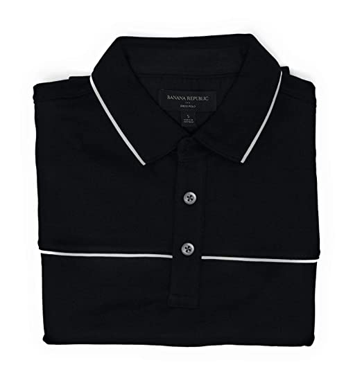 7d3b13729 Banana Republic Factory Mens White Stripe Dress Polo Shirt Soft Touch Pima  Cotton at Amazon Men s Clothing store